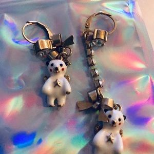 Teddy bear snow angel earrings Betsey Johnson long